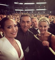 """Look who's my Emmys Neighbor! Julianne Hough Derek Hough and Bruno! Love my DWTS family! #emmys"" - Primetime Emmy Awards - September 20, 2015 Courtesy: carrieanninaba IG"
